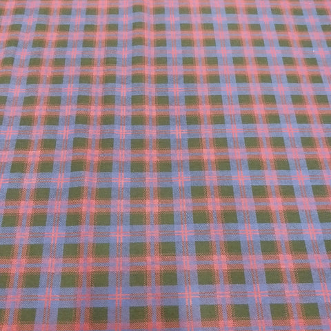 Red Blue Tartan Fabric