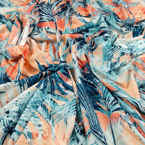 FS133 Orange Palm Tropical Print Spun Polyester Fabric