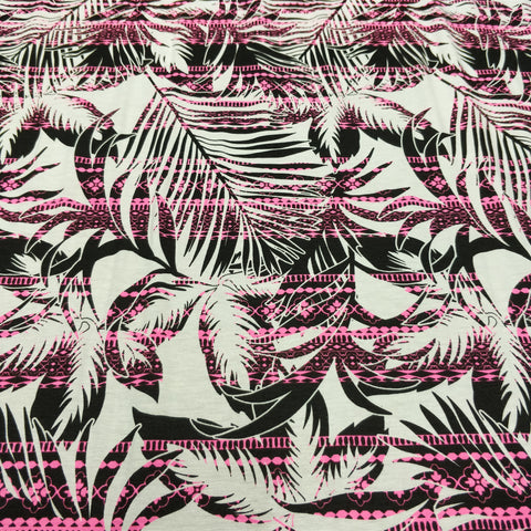 ONE-OFF 3m Pink Striped Tropical Palm Print