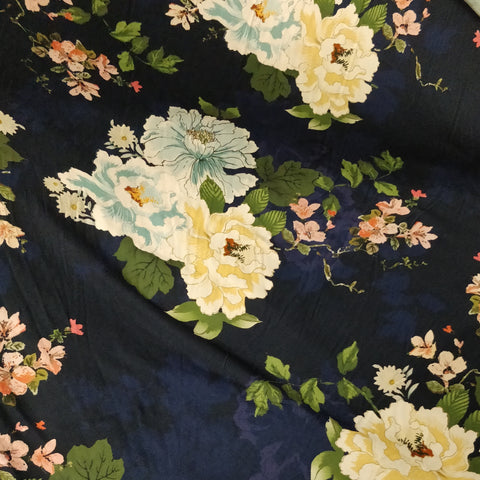 3m Navy Base Floral Fabric