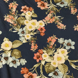 Navy Base Floral Fabric