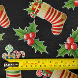 FS078 Christmas Print, Stockings Holly | Fabric Styles