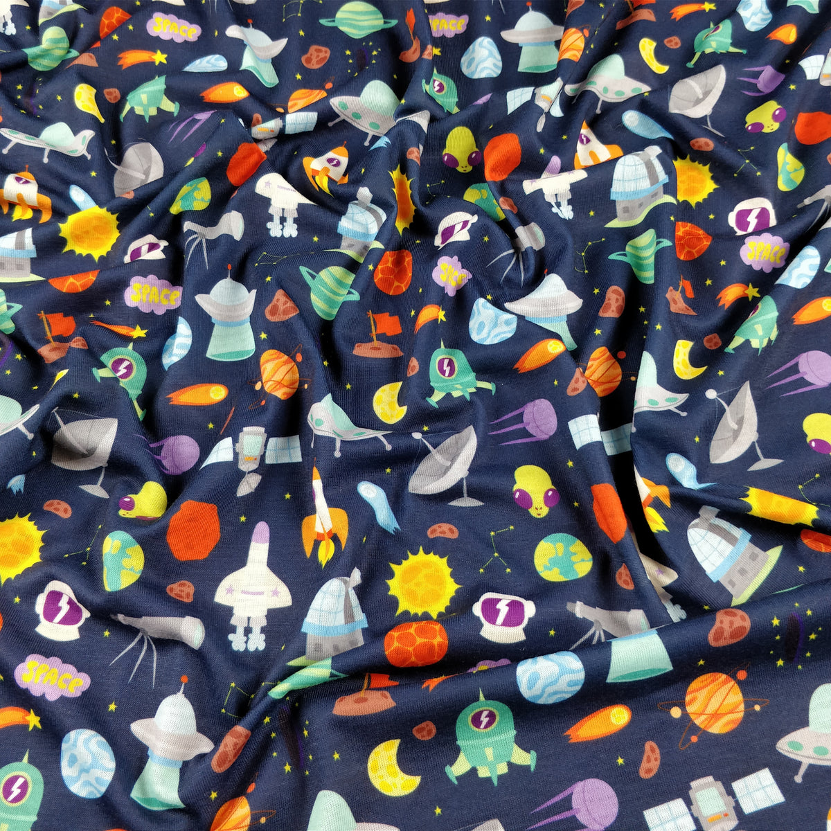 Fs176 space theme rockets planets fabric styles for Space unicorn fabric