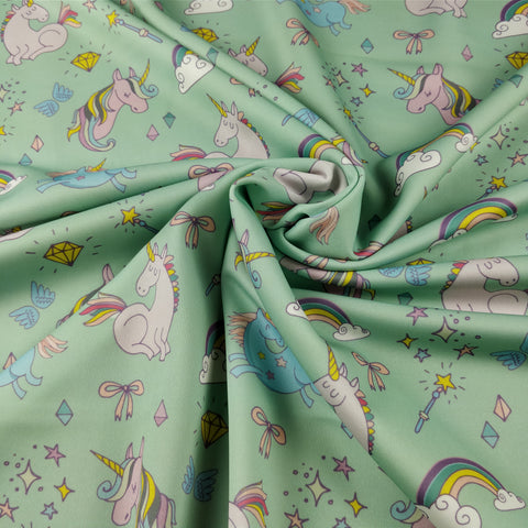 FS169_2 Unicorn Fabric - Mint | Fabric Styles