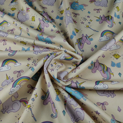 FS169_6 Unicorn Fabric - Peach | Fabric Styles