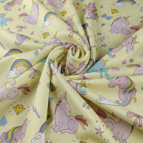 FS169_1 Unicorn Fabric - Yellow | Fabric Styles