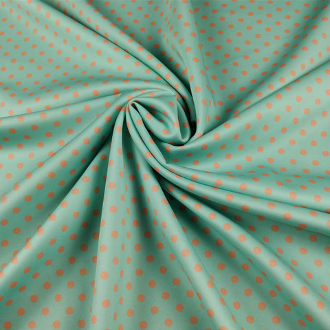 FS168_2 Mint Orange Polka Dots | Fabric Styles