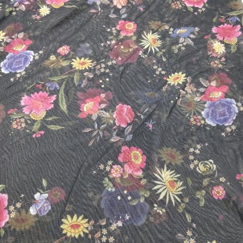 FS219 Floral Power Mesh Black | Fabric Styles