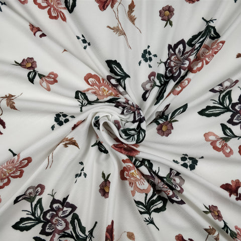 FS228 Stitched Effect White Floral