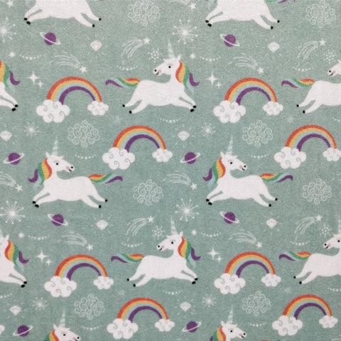 FS213_1 Mint Unicorn Velvet Fabric | Fabric Styles