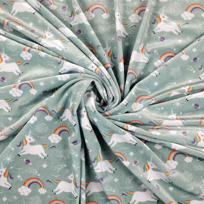 FS213_1 Mint Unicorn Velvet Fabric