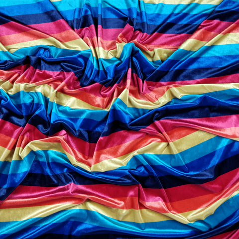FS210 Rainbow Striped Velvet | Fabric Styles