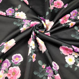 FS243_2 Anemone Black Base Pink Floral | Fabric Styles