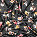 FS242_2 Black Base Zinnia Floral | Fabric Styles