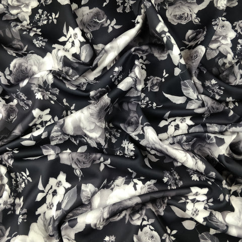 FS254 Roses Black Floral | Fabric Styles