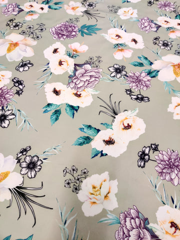 Mint Base Floral | Fabric Styles
