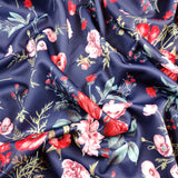 FS101_8 Navy Base Floral Print | Fabric Styles