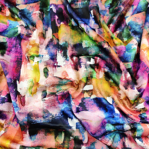 FS458 Rainbow Abstract Paint Strokes | Fabric Styles