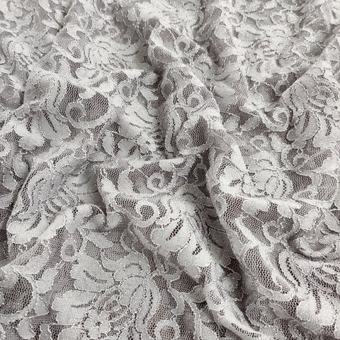 FS509_1 Grey Glitter Floral Lace