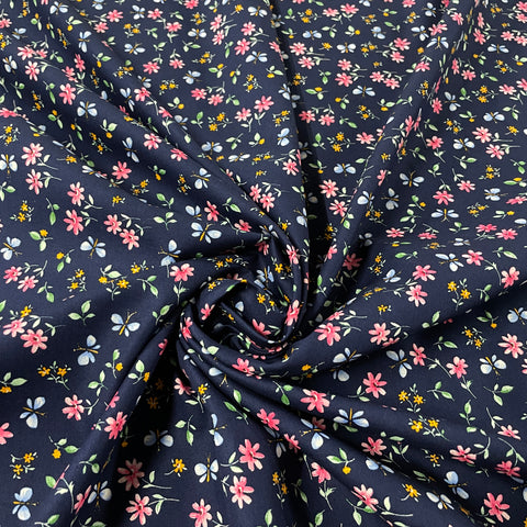 FS854_2 Navy Small Floral Cotton Poplin