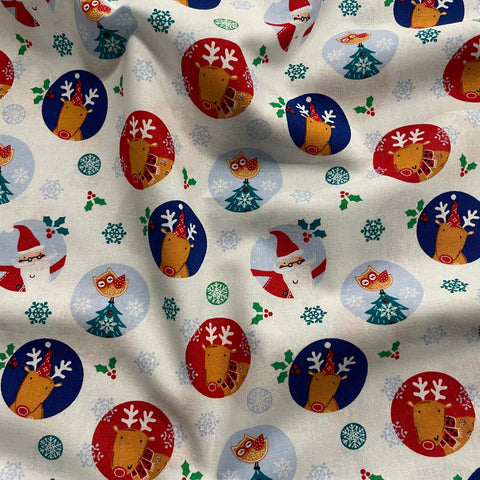 FS861 Santa & Reindeer Christmas Cotton