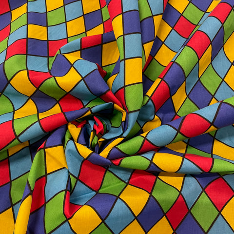 FS687_2 Royal Harlequin Polycotton