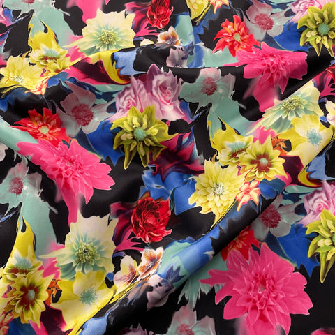 FS027 Summer Flower/Floral Printed Fabric - High Quality - Pink Yellow Blue - 1M