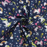 FS770_1 Sally Polycotton Navy Unicorn