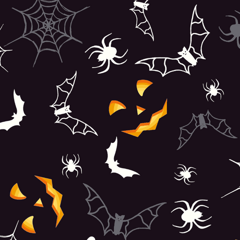FS167 Halloween Spider Bat Print | Fabric Styles