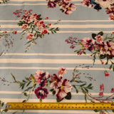 Light Blue Stripe Floral Scuba Fabric