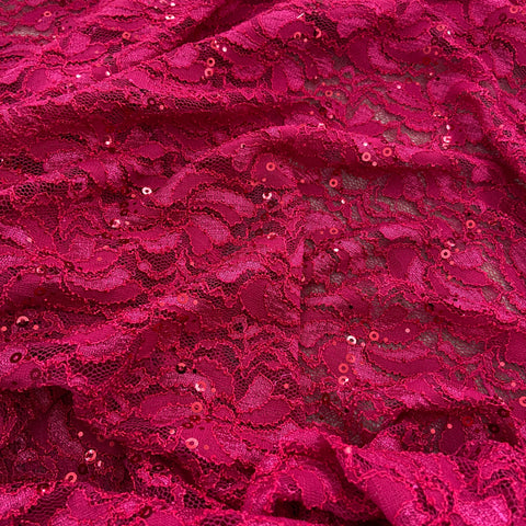 FS508_3 Pink Sequins Lace