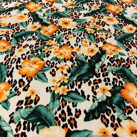 21. Tropical Floral Leopard Liverpool Fabric
