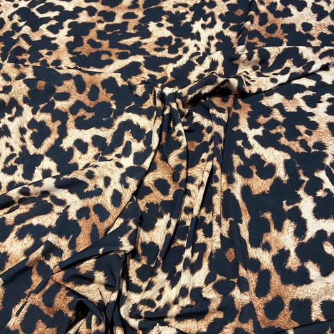 Brown Leopard Animal Print ITY Fabric | Fabric Styles
