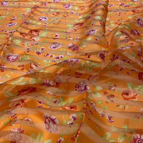 45. Orange Organza Stripe Floral