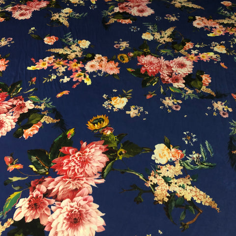 Blue Base Floral Floral | Fabric Styles