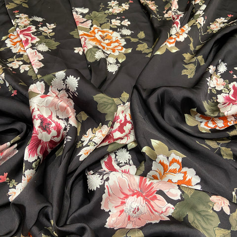 79. Black Satin Floral Print | Fabric Styles