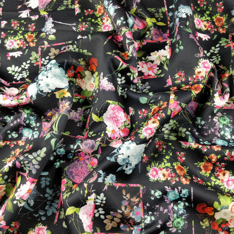 FS183 Square Black Floral | Fabric Styles