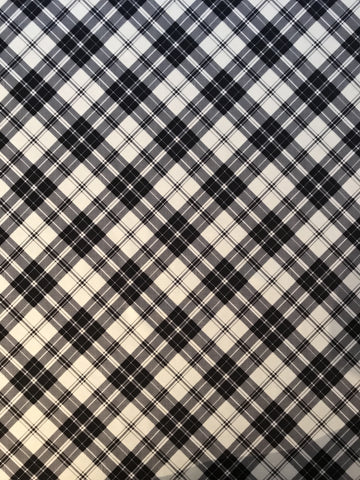 Black White Tartan Ponte Fabric
