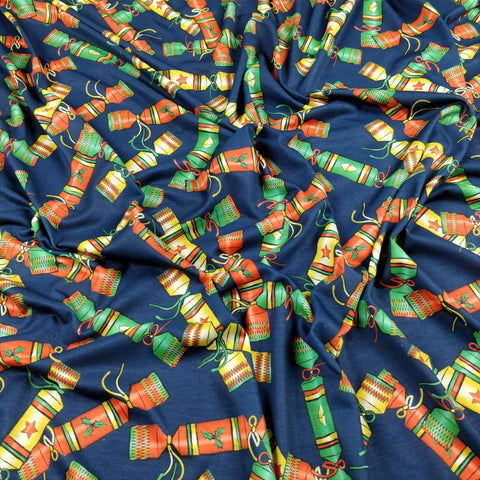 FS157 Christmas Crackers Navy Base | Fabric Styles