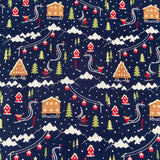 FS683 Ski Resort Scene Navy