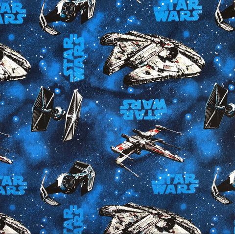 FS598_3 Star Wars Rebel Ships Blue Cotton