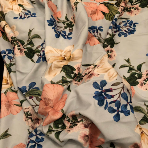 3.2 Metres Light blue Floral Scuba Crepe Fabric | Fabric Styles