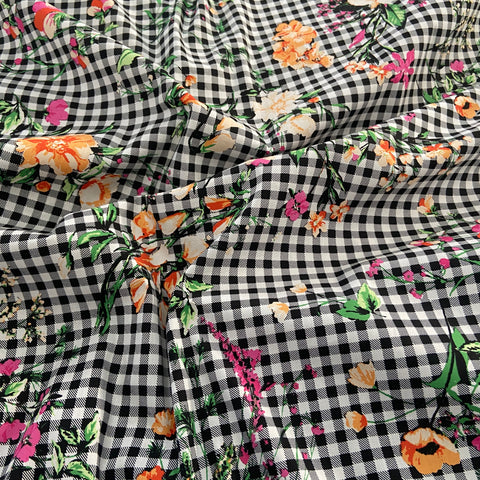 FS847 Gingham Floral Cotton Poplin Stretch