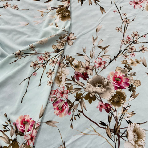 16A Mint Floral Print ITY Fabric