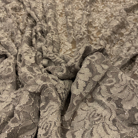 13. Grey Floral Glitter Lace | Fabric Styles