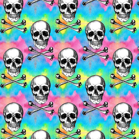 FS993 Rainbow Skulls & Crossbones Cotton