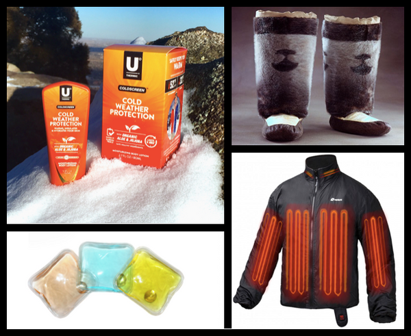 Coldscreen warming lotion, reusable heat packs, mukluks, battery heated jacket