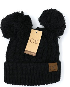 black double pom beanie hat