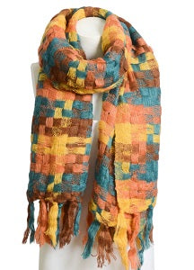 Orange blue plaid long scarf