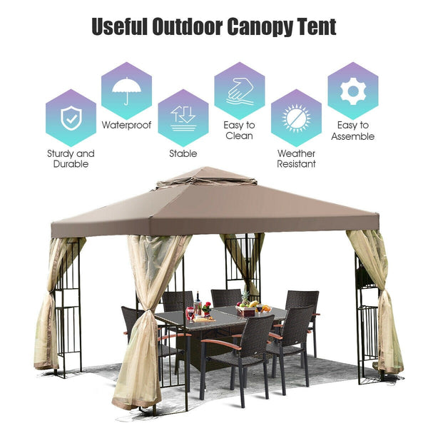 10' x 10' Awning Patio Screw-free Structure Canopy Tent